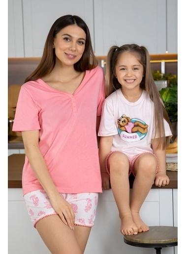 Katia & Bony Teddy Bear şortlu Kız Çocuk Pijama Takımı - Pembe Pembe